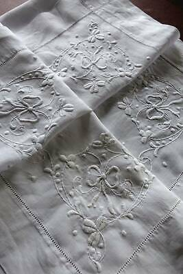 Antique white Irish linen hand embroidered tablecloth.- whitework embroidery