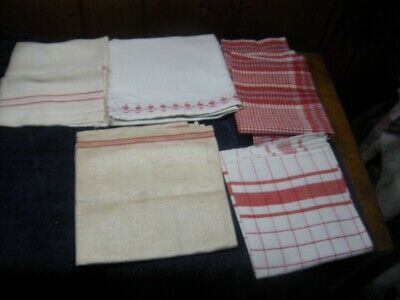 5 pc lot Vintage Kitchen  Tea towel Linen  Red and white