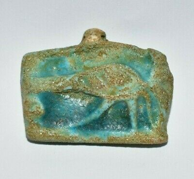 ANCIENT EGYPT ANTIQUE Egyptian blue faience eye of Horus amulet b 1300 B.C