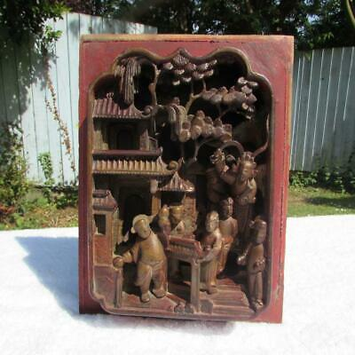 """5/"""" Antique Chinese Hand Carved Footed old Wood Stand Jade in the inside"""