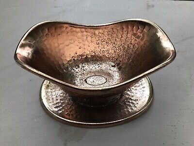 """VTG 9"""" Hammered Copper Gravy Boat Bowl With Attached Underplate"""