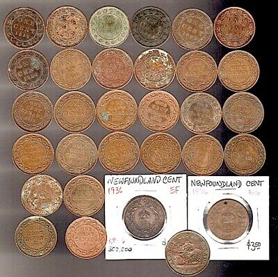 CANADA/Newfoundland/Bank Montreal/31 Bronze Coins 1850+1859-1919 LG CENTS $4 S&H