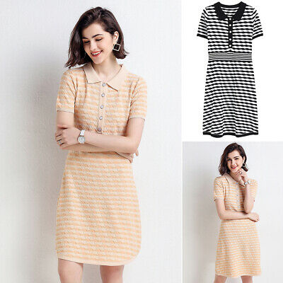 Womens Dress Ladies Work Summer Striped A Line Fashion Party Short Sleeves