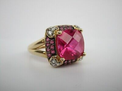 Large 14K Gold Ring With Rubies Ruby Diamonds Cocktail Vintage Wearable Art