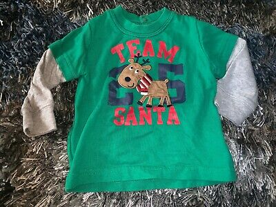 Baby Boys Infants 6 Months Team Santa Christmas Holiday Long Sleeve Top Shirt !!
