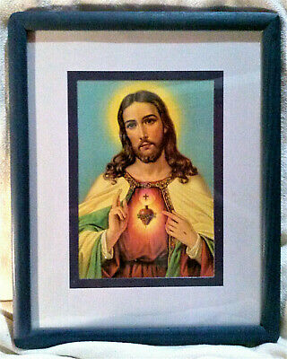 "Sacred Heart of Jesus Picture 5"" x 7"" Print (Italy) in 8"" x 10"" Wood Frame"