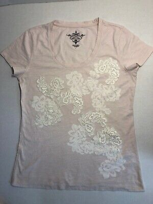 Tommy Hilfiger Womens Pink T Shirt L Exclusively Front Embroidered