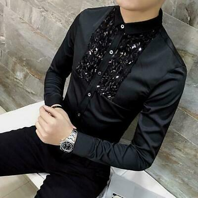 Mens Chic Formal Long Sleeve Dress Sequin Button T Shirt Blouse Slim Fit Party