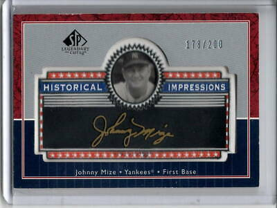 Johnny Mize Logo Patch /200 2003 Ud Sp Legendary Cuts Historical Impressions Sp