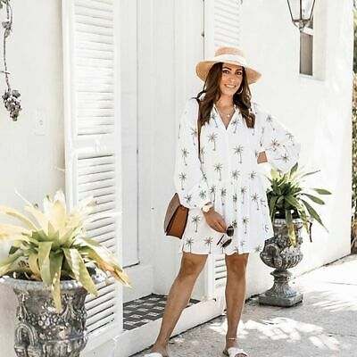 651c9b223220 H&M TREND Conscious White Short Embroidered TUNIC Palm Tree DRESS sz ...