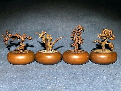 Old Collectible Handwork Pure Solid Copper Chinese Four Gentlemen Flowers Statue