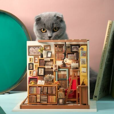 DIY Wooden Crafts Libary Miniature Dollhouse with Accessories Furniture Kits