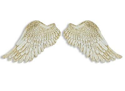 Imperfect Small Pair Antique White Angel Wings Retro Vintage Decoration Wall Art