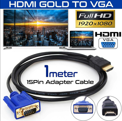 HDMI Male to VGA Male Video Converter Adapter Cable Cord 1080P HDTV UK