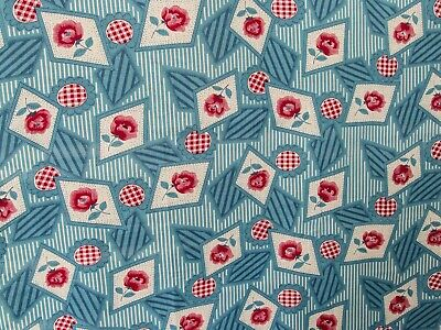 Vintage Fabric 1950s or Earlier Blue Floral & Geometric Cotton Fabric Piece