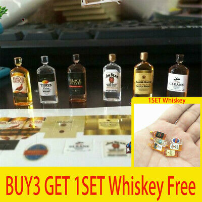 6pcs Miniature Dollhouse 1:12 Whiskey Wine Bottles Shop Pub Bar Drink Accessory