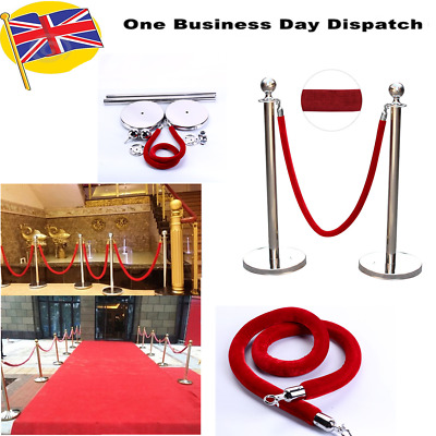 2pcs Silver Queue Barrier Posts Stands Security Stanchion Rope Divider Steel Set