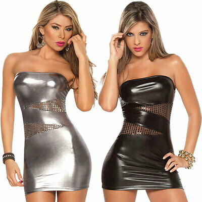 Women Sleeveless Patent Leather Bodycon Strapless Lure Party Stripper Mini Dress
