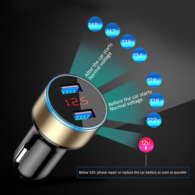 Dual USB Car Charger Adapter LED Display Fast Charging for Universal Cellphone