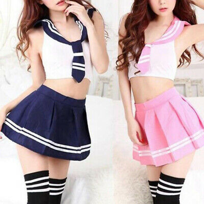Sailor Outfit Uniform Girl Students School Lingerie Skit Tops Role Play Cosplay