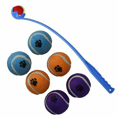 Blue Doggy Dog Pet Flingball With Pack Of 7 Tennis Balls