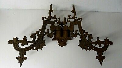 Antique Ornate Victorian  Cast Iron Wall Bracket Kerosene Oil Lamp Sconce