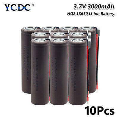 10Pcs Original 3.7V 3000mAh HG2 18650 High Drain 20A Battery For Vape E-cig 62D