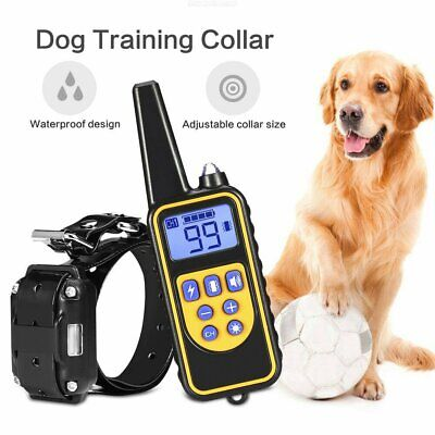 Dog Shock Training Collar Rechargeable Remote Control Waterproof IP6X 880 Yards