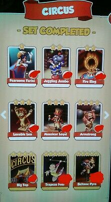 Coin Master Full set of CIRCUS x6 cards excluding golds + High Raids for 24hrs!