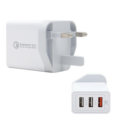 3Port Fast Qualcomm Quick Charge UK Plug 30W QC 3.0 USB Hub Wall Charger Adapter