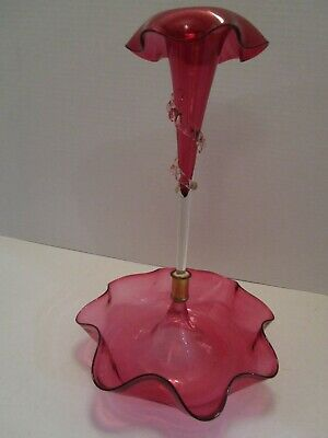"Victorian Antique Cranberry Glass ruffled Epergne trumpet & base Swirl 12"" tall"