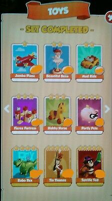 Coin Master TOYS full set x6 cards excluding gold + High Raids for 24hrs!