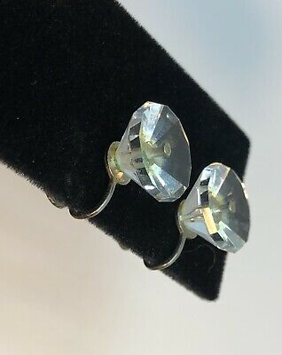 Vintage LARGE Clear Glass Crystal Earrings Twist Back Marked Sterling
