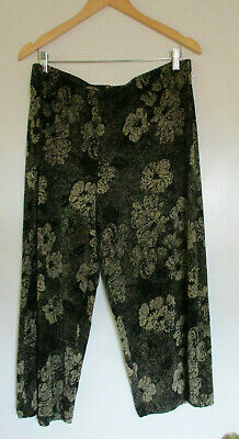 Coldwater Creek Womens  Pull On Pants XL Black Tan Floral Travel Slinky