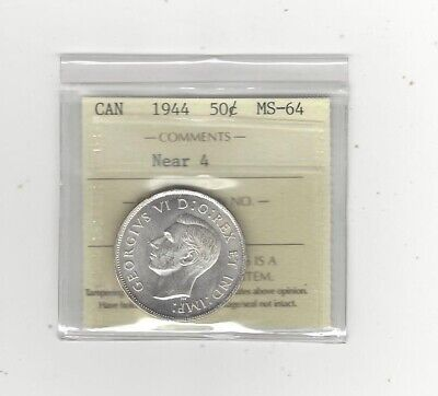 **1944 Near**, ICCS Graded Canadian Silver 50 Cent, **MS-64****