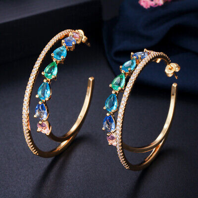 CWWZircons Double Circle Rainbow Crystal Round Big Gold Hoop Earrings for Women