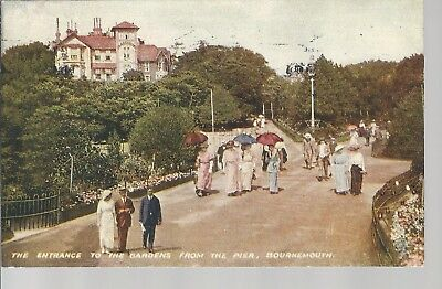 The Entrance to Gardens from Pier Bournemouth 1917 Postcard