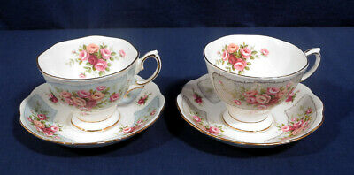 2 Royal Albert Bone China Rosedale Series Manifold Wye Tea Cup and + Saucer Sets