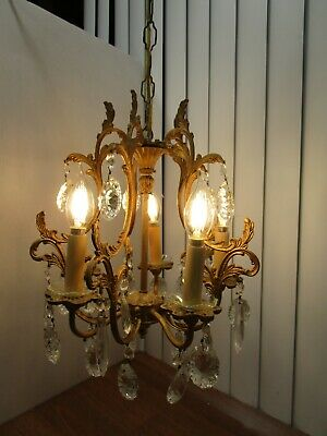 Antique Brass Italy Chandelier crystal drops Prisms Hollywood Regency 5 lights