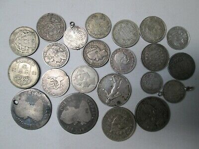 Mixed Lot of  22 SILVER Foreign World Coins
