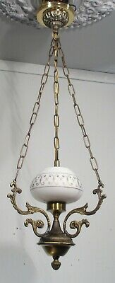 Antique vintage Chandelier Petite Brass Glass Hanging Pendant Rewired