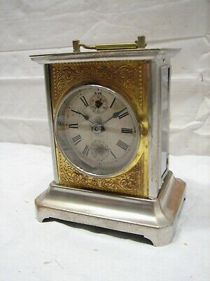 Antique Seth Thomas Brass Case Carriage Clock Glass Side Window Alarm