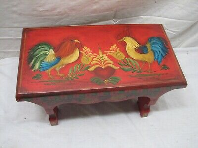 Cock Fighting Roosters Tole Painted PA Dutch Floral Wooden Foot Stool Bench Farm