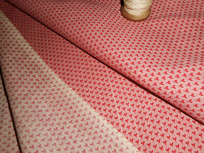 Antique Double Pink Calico Cotton Fabric ~ Tiny Hearts ~ Dolls Quilts ~ Unused