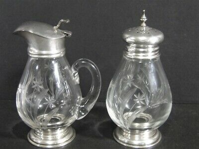 Vintage Frank Whiting Cut Design Glass Sterling Silver SYRUP & Sugar SHAKER
