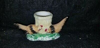 Antique German Bisque Match Holder With Strike Figural Roosters Game Cocks