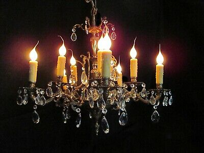 Vintage Brass and Crystal Chandelier 10 Light 2 Tier REWIRED Made in Spain