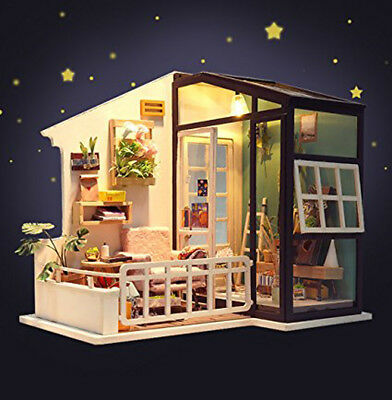 Robotime Assembly Dollhouse Kits1:24 Miniature Room with Furniture Light Adult