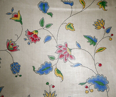 Antique English Indienne Floral Chintz Fabric ~ Blue Pink Yellow Green
