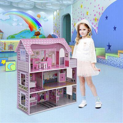 Gift Dollhouse For Child DIY  Wooden Mini Pink House With Miniature Furniture Cu
